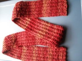 Handspun Scarf from the Yarn Harlot. I actually made a point to spin three different colors into one pattern.